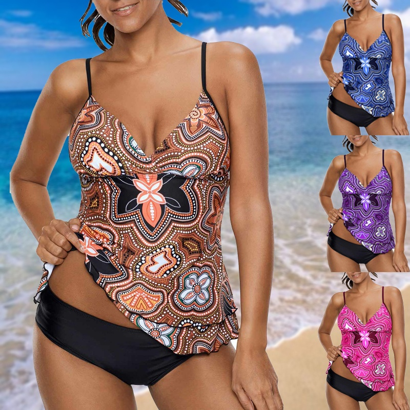 Sport Large Size Swimwear 2018 Sexy Plus Size Swimsuit XXXXXL Biquini Beach Wear Printed Spaghetti Strap Layered Tankini Set plus size color block multi strap tankini