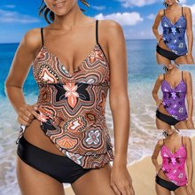 Sport Large Size Swimwear 2018 Sexy Plus Size Swimsuit XXXXXL Biquini Beach Wear Printed Spaghetti Strap Layered Tankini Set(China)