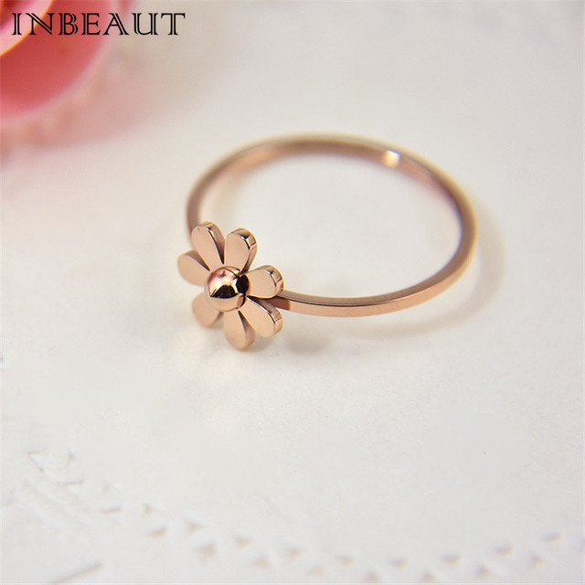 INBEAUT Women Jewelry Retro Solid Steel Rose Gold Sun Flower Wedding