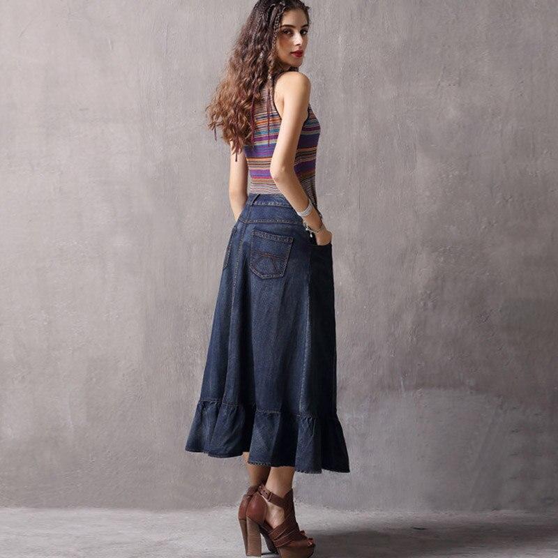 Calle Midi Maxi De Irregular Asimetría Y Mujer Otoño Jeans Para Vintage Largo Primavera Faldas Casual Retro 2019 Denim 1q0pAO0