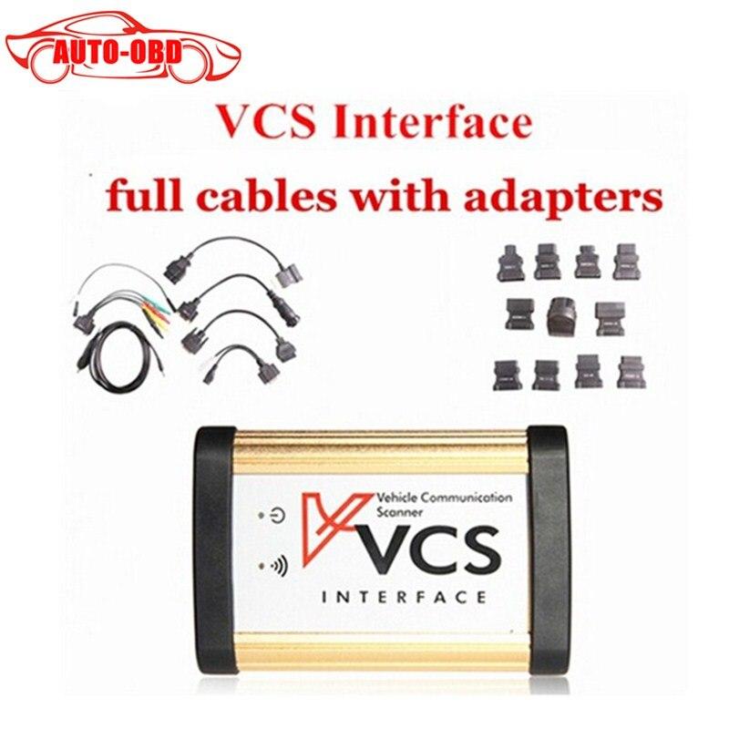 Prix pour 2017 Nouveau VCS de Communication de Véhicule Scanner Interface avec Plein adaptateurs VCS SCANNER VCS Interface de voiture outil de diagnostic meilleur prix