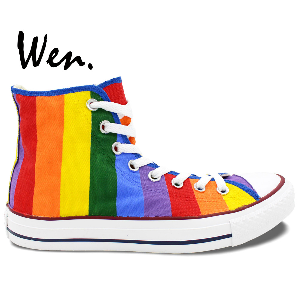 Wen Hand Painted Canvas Shoes Original Design Custom Rainbow Sneakers Men Women's High Top Canvas Sneakers Birthday Gifts wen blue hand painted shoes design custom shark in blue sea high top men women s canvas sneakers for birthday gifts
