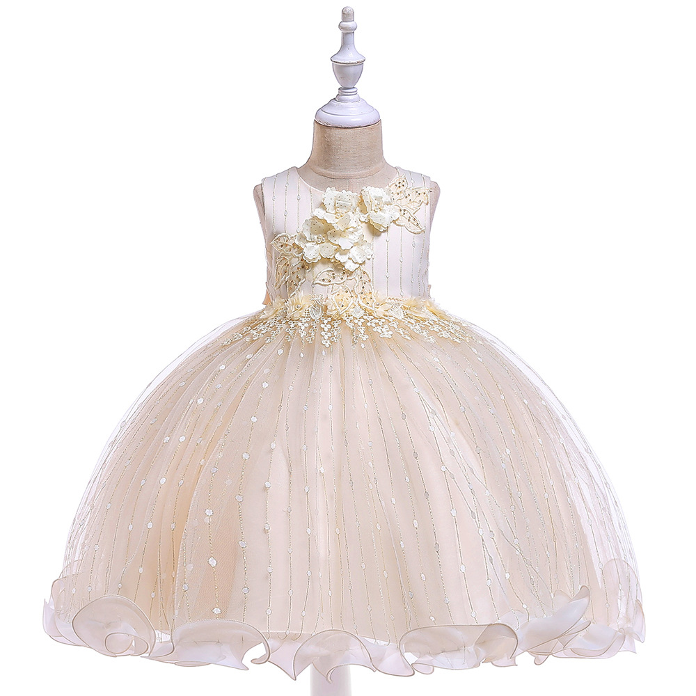 Summer 2019 Girls Dress Embroidery Floral Kids Dresses for Girls Appliques Ball Gown Princess Dress Girls Wedding Party Dress in Dresses from Mother Kids