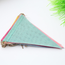 Handmade Fabric DIY Decorative Wedding Party Bunting Birthday Ornament Banner Colorful Anniversary Hanging Triangles Flag