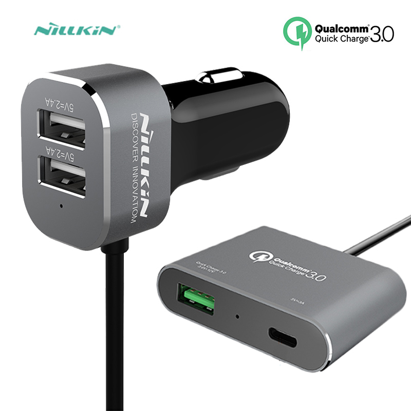 Nillkin Quick Car Charger 2M QC3.0 3 USB Port + Type C Charger For iPhone 6 6s 7 8 Plus  ...