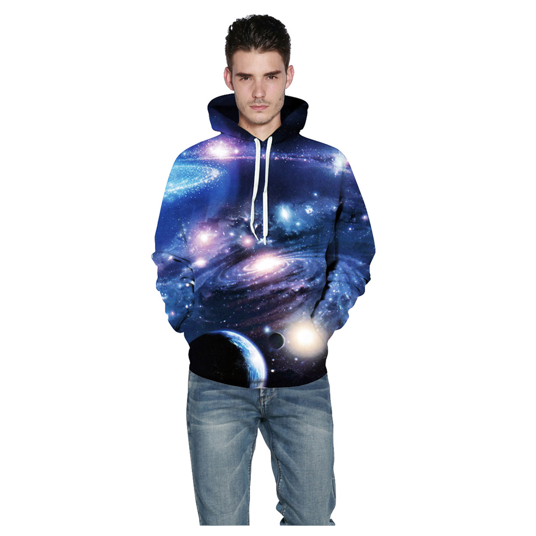 Men/Women New Space Galaxy Sweatshirts With Hat Fashion Hooded Hoodies 3d Print Planets Whirlpools Spring Autumn Thin Hood