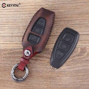KEYYOU Keychain 3 Button Leather Car Key Case Fob Key Cover Bag for Ford Fiesta Focus 3 4 MK3 MK4 Mondeo Ecosport Kuga Focus ST