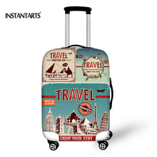 ФОТО INSTANTARTS Travel on the Road Luggage Protective Covers Thick Elastic Luggage Cover for 18 22 26 30 Inch Suitcase Trolley Cases
