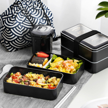 Oneisall Plastic Lunch Box Two-lay Japanese Bento Food Container Lonchera Lancheira for Kids Lunchbox contenedor de alimento