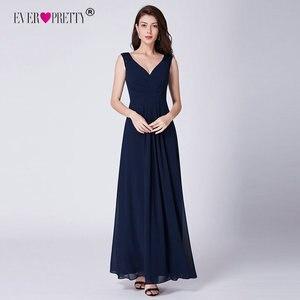 Image 5 - Ever Pretty Sexy Women Evening Dresses V Neck Sleeveless Backless A Line Slim Chiffon Long Navy Blue Evening Formal Party Dress