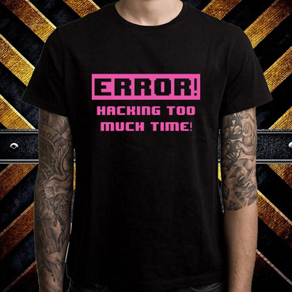 New Kung Fury Hacking Error Funny Parody Mens Black T-Shirt Size S to 3XL