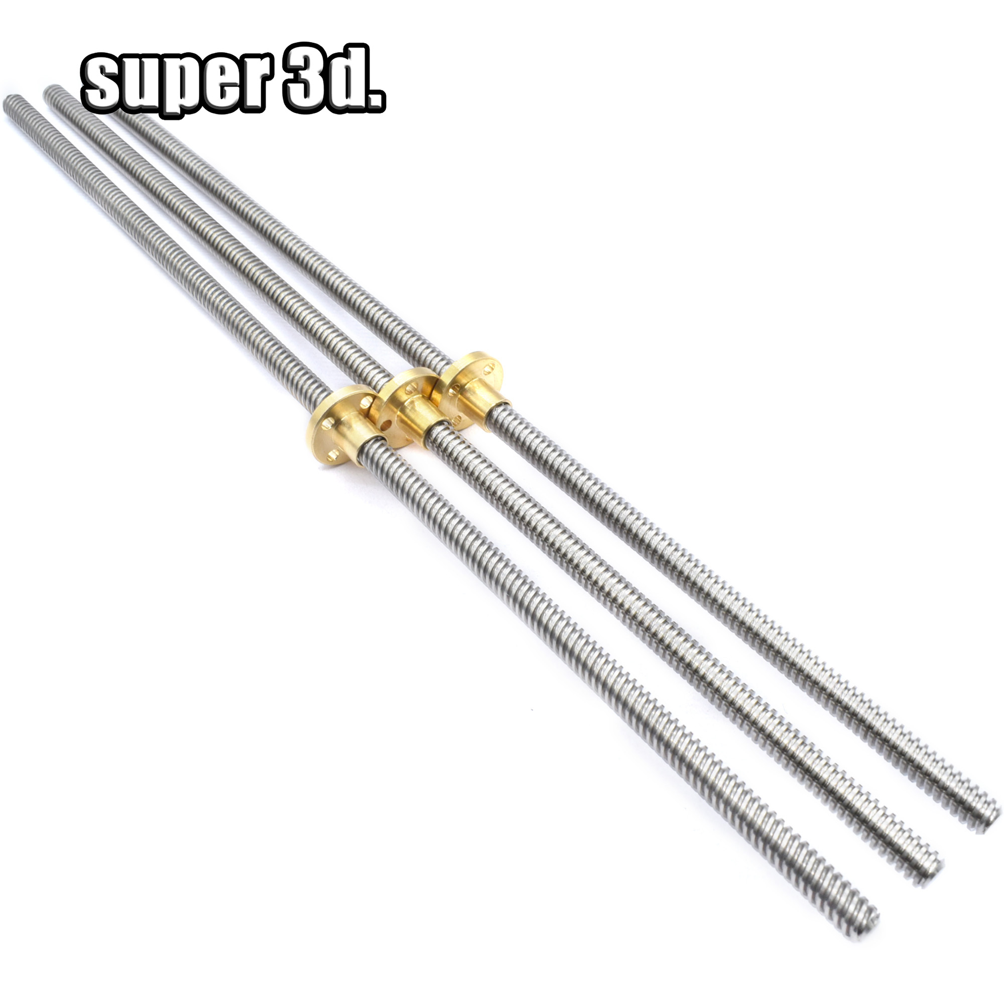 T8 Lead Screw Rod OD 8mm Pitch 2mm Lead 2mm Length 150mm-750mm Threaded Rods With Brass Nut For Reprap 3D Printer