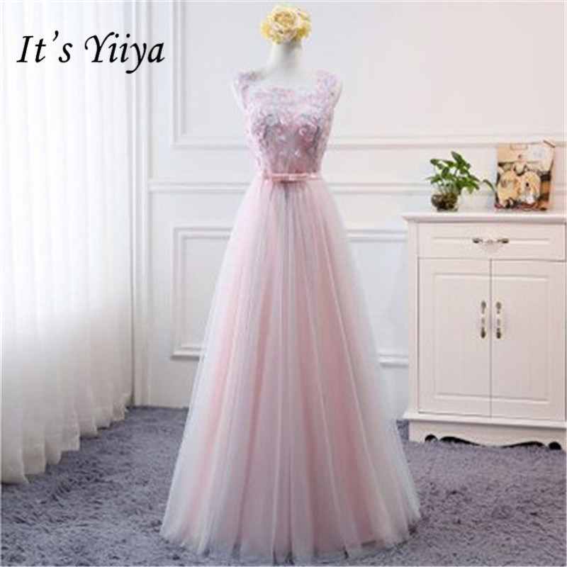It's YiiYa New Appliques Sleeveless   Bridesmaid     Dresses   Elegant High Quality Patchwork Lace A-line   Dress   B043