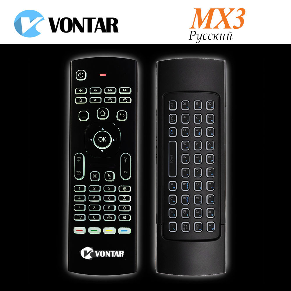 VONTAR MX3 Pro Russian Backlit Mini Wireless Keyboard Remote Control 2.4G IR Learning Air Mouse For Android TV Box X96 mini