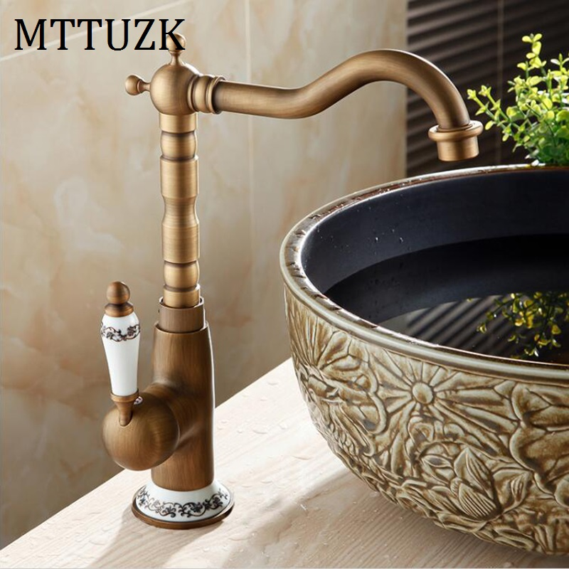 Vidric Antique Solid Brass bathroom faucet single handle single hole bathroom table basin hot and cold mixer tap basin faucet