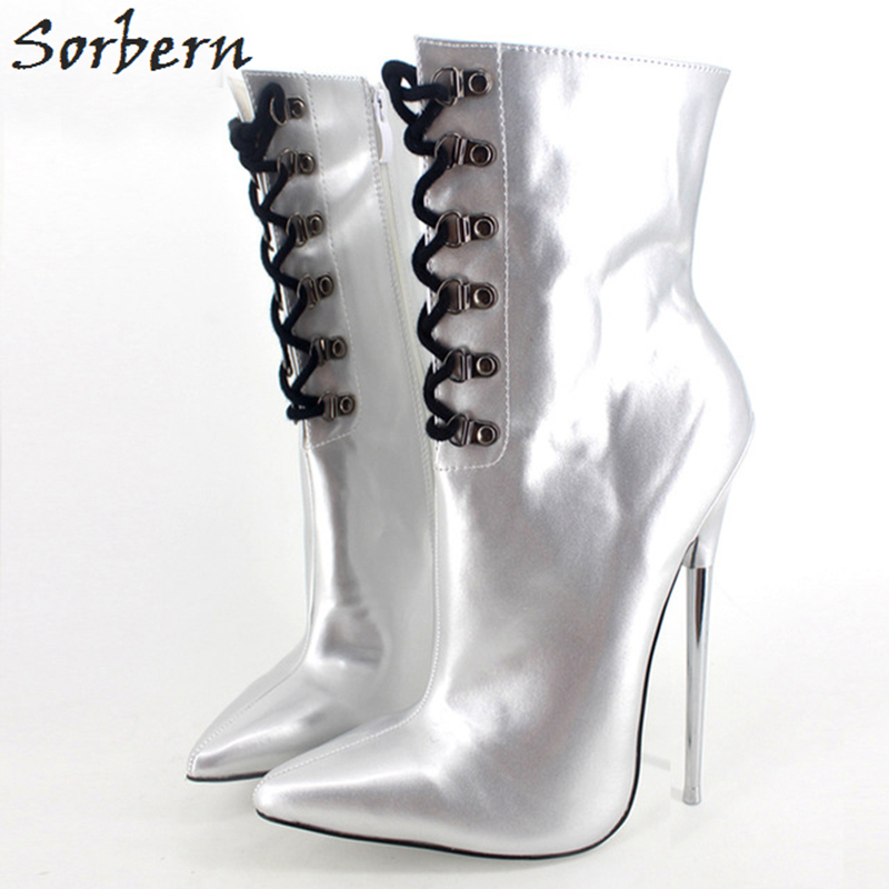 Sorbern Ankle Boots For Women Plus Size Boots Metal Heels Lace Up Large Size 36-46 Boots Women Pointed Toe 18CM Patent Leather alluring plus size keyhole neck flounced lace blouse for women