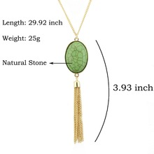 Long Oval Natural Stone Tassel Necklace