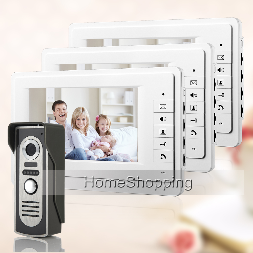 FREE SHIPPING Home Doorphone 7 Color Screen Video Intercom Door Phone System 3 White Monitor 1 700TVL Doorbell Camera In Stock brand new 7 inch color screen video doorphone sperakerphone intercom system 1 monitor 700tvl coms camera free shipping