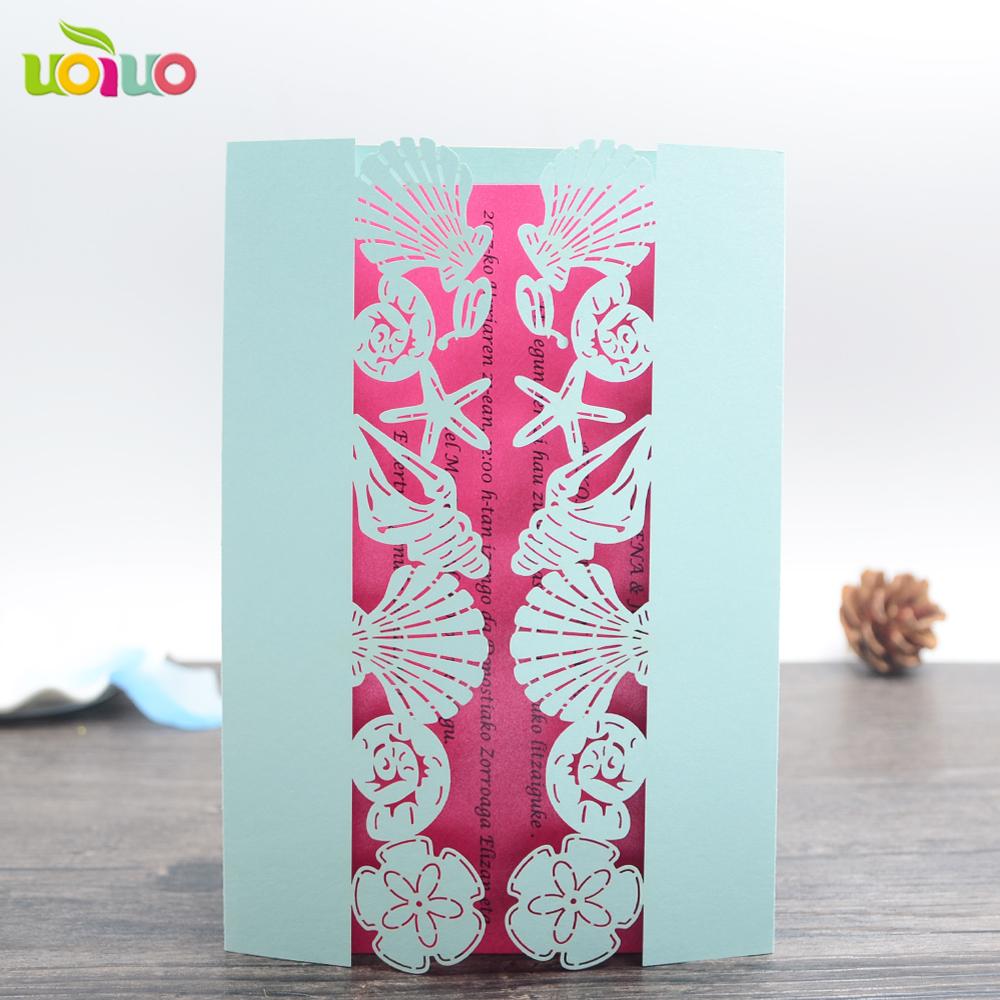 Fashion Laser Cut Blaue Muschel Tier Einladungskarten Nautischen  Hochzeitseinladungskarten Förderung
