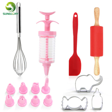 Cookie Set Kit Fondant Icing Piping Cream Syringe Cutter Silicone Rolling Pin Egg Beater Spatula Baking Tools