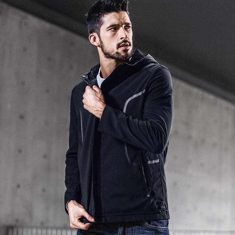 KUEGOU جديد الخريف رجل جاكت مزود بغطاء للرأس و معاطف خليط سستة أسود اللون العلامة التجارية الملابس الرجل ضئيلة الملابس الذكور قمم 0715-في جواكت من ملابس الرجال على  مجموعة 3