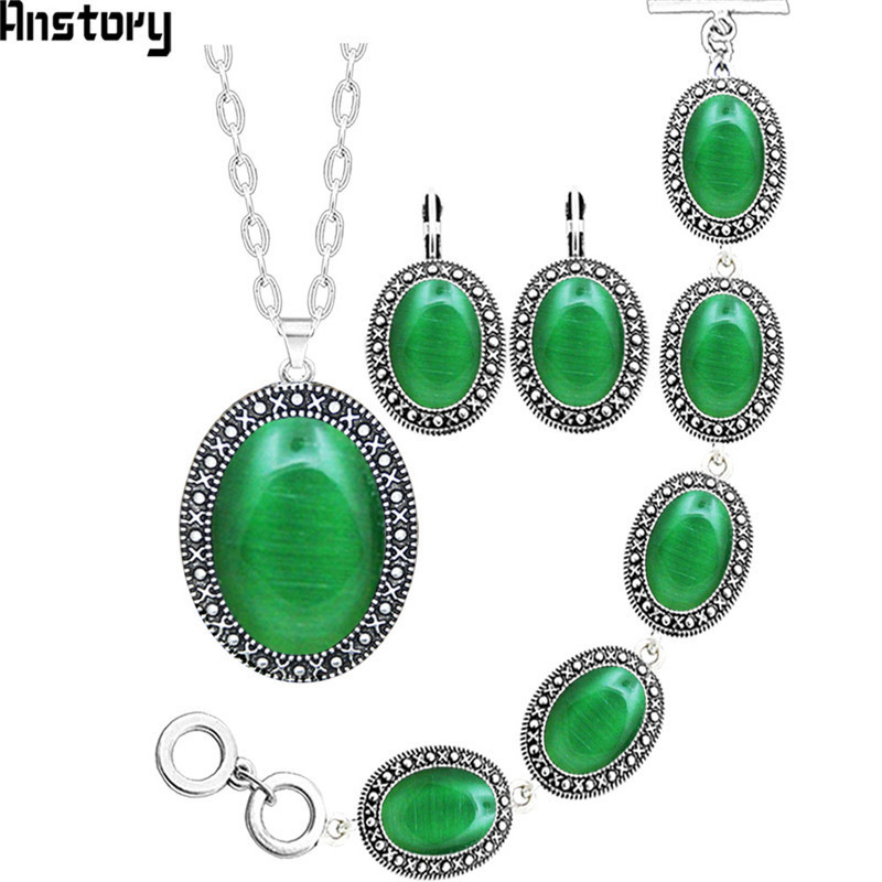 5 Colors Oval Opal Necklace Earrings Bracelet Jewelry Set Antique Silver Plated Fashion Jewelry TS412 stylish five flowers silver plated necklace page 5