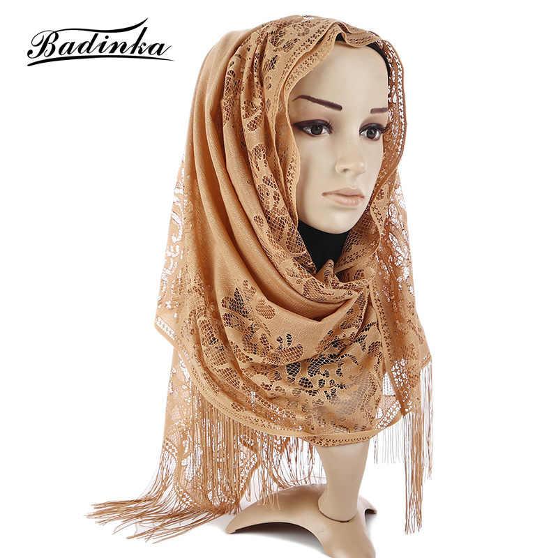 927f96adc6a82 Badinka 2018 New Muslim Premium Cotton Jersey Hijab Scarf Women Ladies  Hollow Flower Plain Tassel Scarves