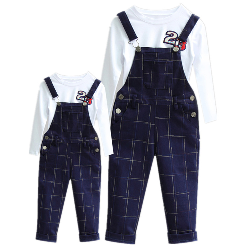 Мамы и детей комплекты для мальчиков и девочек Рубашки для мальчиков + Брюки для девочек 2 шт. семейная Одинаковая одежда в клетку модные Под...