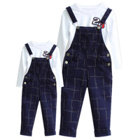 Mother Kids Girls Boys Sets Shirts + Pants 2pcs Family Matching Clothing Plaid Fashion Suspenders Mom Children Autumn Spring