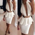 2016 Fashion Halter Gold Belt Peplum Short Sexy Custom Made White Cocktail Dress Party Dresses Prom Dress