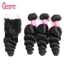 10A Cambodian Virgin Hair With Closure Loose Wave Curly Lace Closure With Bundles Human Hair With Closure Hair Weft With Closure