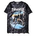 2017 novo estilo Europeu thrasher neve lobos homens impresso curto-manga comprida T-shirt hip hop skate top tee roupas