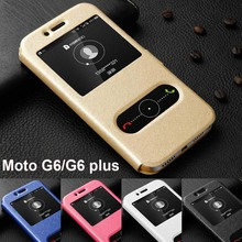 For Motorola Moto G6 case G6plus cover window view PU leather PC hard stand flip for plus funda