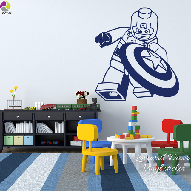 Cartoon Lego Captain America Wall Sticker Boys Room Baby Nursery Lego  Superheros Marvel Wall Decal Bedroom