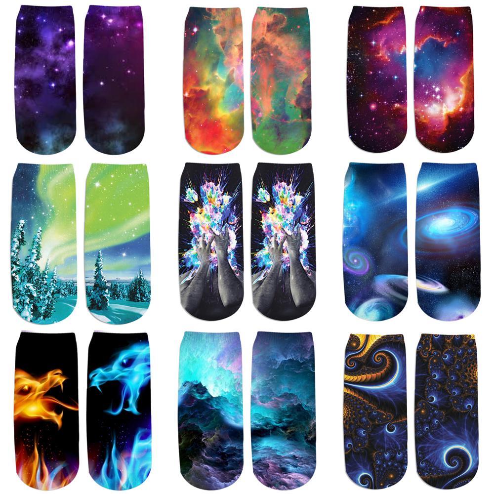 PLstar Cosmos Drop shipping 2019 New 3D Printed Galaxy space cute cotton short ankle socks for Men women harajuku korean socks 1