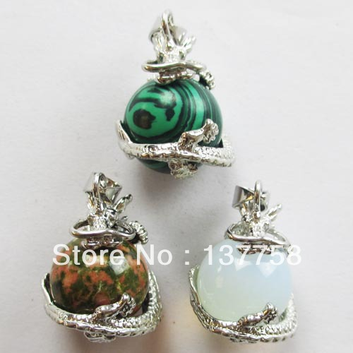 3pcs Beautiful Dragon Wire Wrap Natural Stone ball Pendant Bead R245 ...