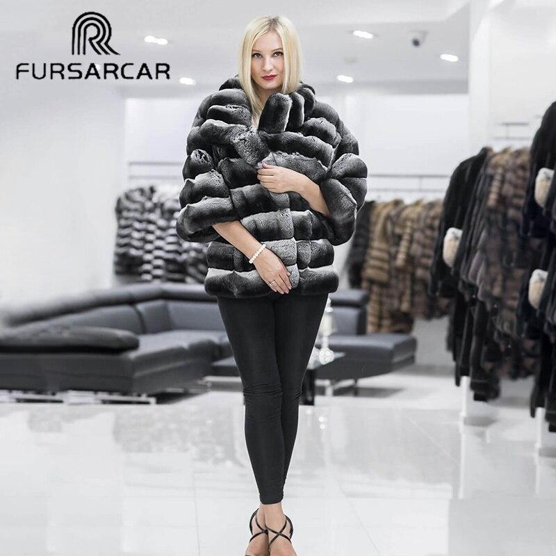 FURSARCAR Rabbit Fur Female Jacket Genuine Leather 2019 New Short Fur Coat Natural Rex Rabbit Fur Coat Women Winter Thichk Warm