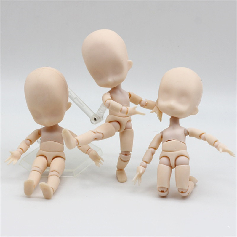 1/12 Nude Baby <font><b>Dolls</b></font> Toys Moveable 15cm Mini Baby Action Figure Toys DIY <font><b>BJD</b></font> <font><b>Doll</b></font> Ball Joint Body with Stand image
