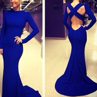 Модное сексуальное вечернее платье с круглым вырезом, с перекрещенными ремешками, высокое качество, на заказ, длинное синее платье для вече