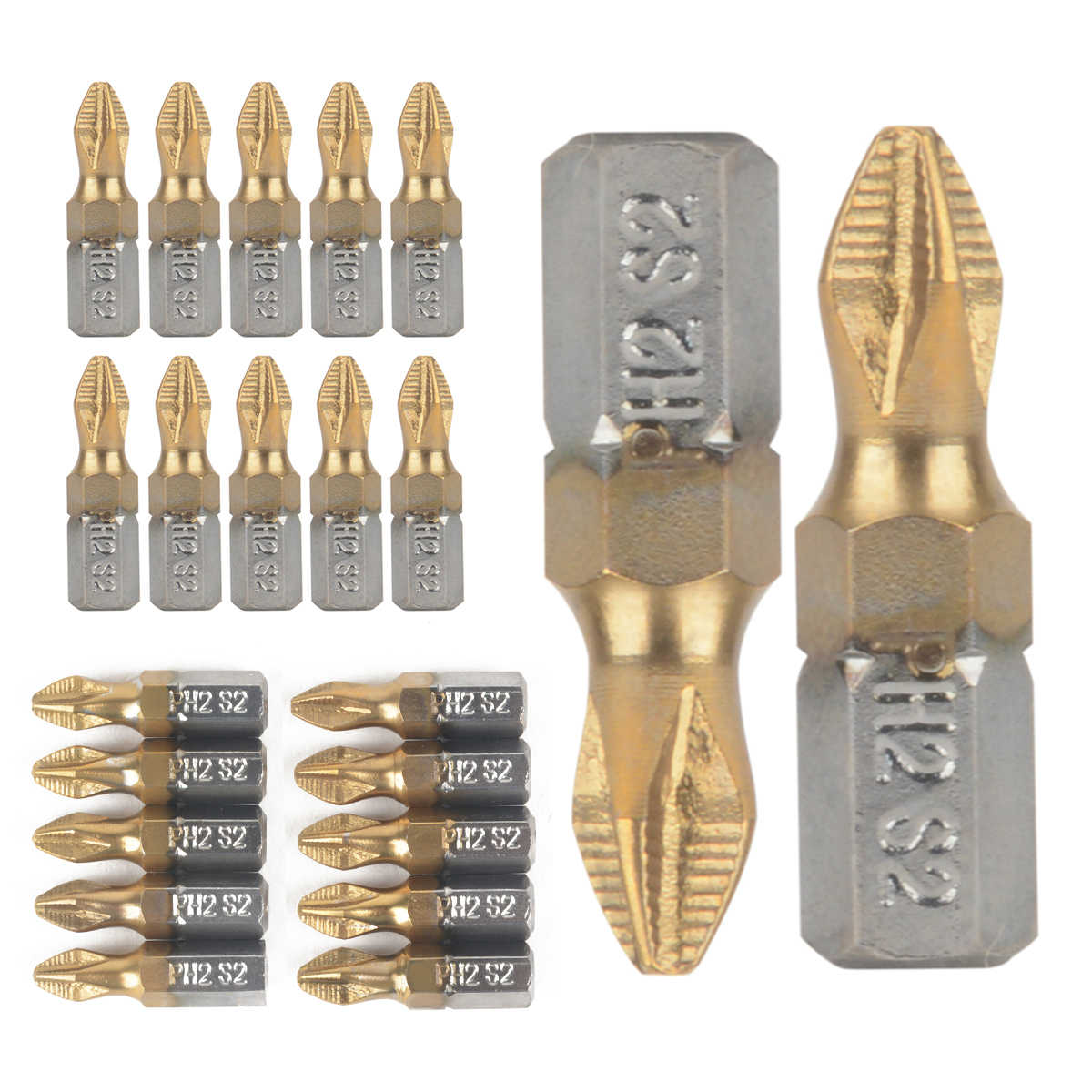 "10pcs Anti Slip PH2 Screwdriver Bit 25mm Length 1/4"" Shank Titanium Coated Drill Bits For Electric Drill"