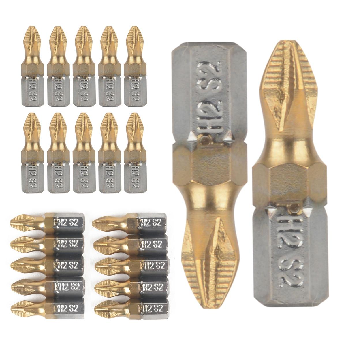 10pcs Anti Slip PH2 Screwdriver Bit 25mm Length 1/4