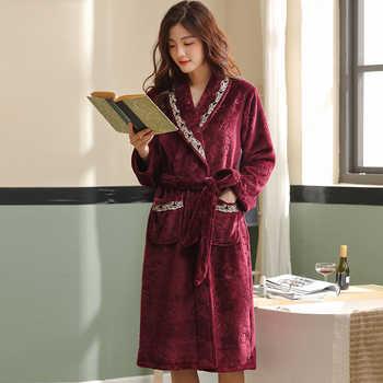 Luxury Flannel Robe Female Thick Elegant Dressing Gown Warm Belted Empire Women\'s Bathrobe Winter Long Robe Women Bath Robe 3XL