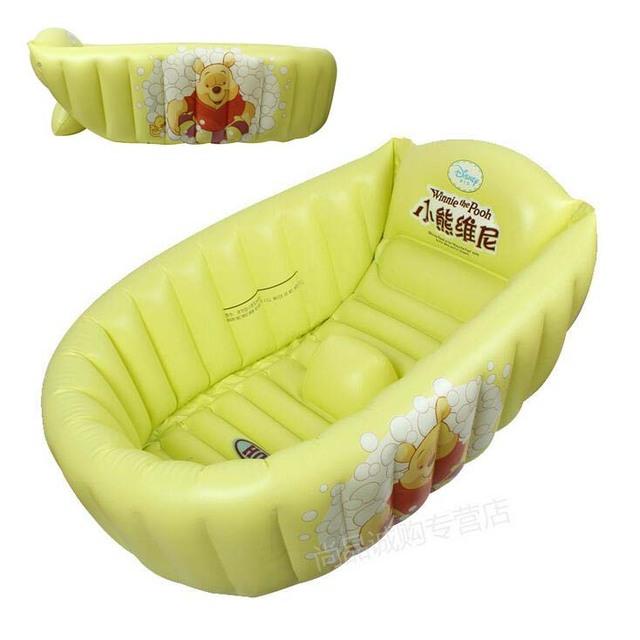 Alta calidad bañera bebé inflable con bomba de pie de la categoría alimenticia PVC ambiental Material del bebé encantador de los cabritos de diseño de dibujos animados bañera