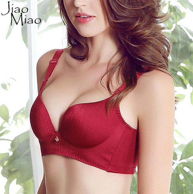 Jiao Miao Sexy Women Plus Size Cotton Casual Nature Adjusted-straps Back Closure Solid Wirefree Seamless Push Up Large Bra