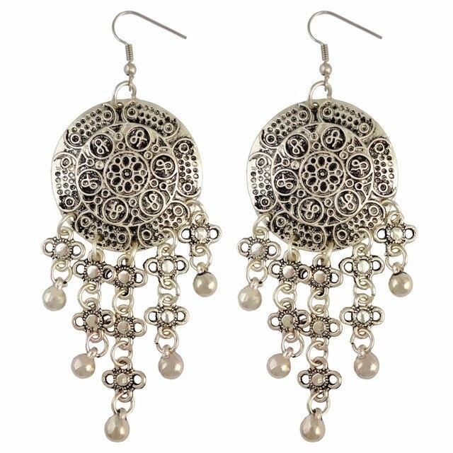 a73c7ae9bd US $2.45 33% OFF|Tibetan Silver Boho Ethnic Tribal Flower Metal Bells  Tassel Dangle Earrings Belly Dance Jewelry Gypsy Statement Indian  Earring-in ...