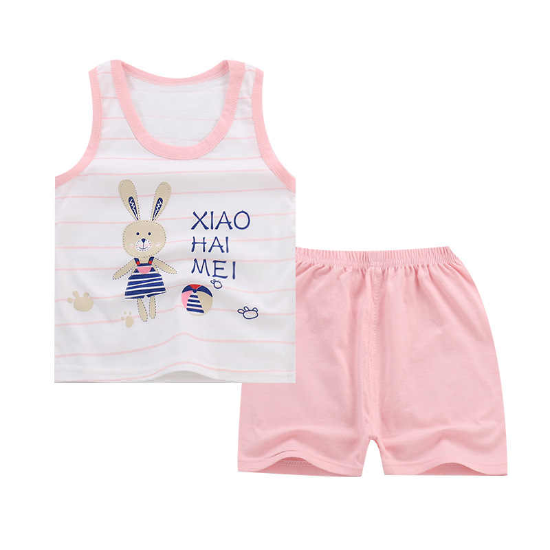 2019 nuevos conjuntos de chaleco para niñas, Tops y pantalones cortos de dibujos animados para niños, ropa de algodón para niños, sin mangas