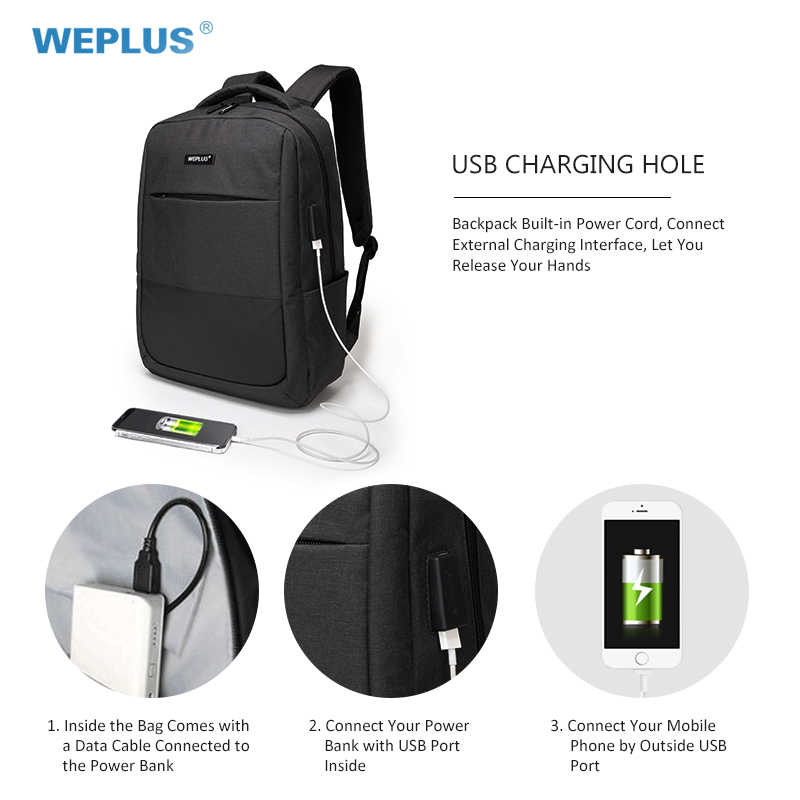c76d4e9179f6 ... WEPLUS Backpack 15.6 inch Laptop Backpack USB Charging Casual Style  Waterproof Bag Men Women Anti Thief ...