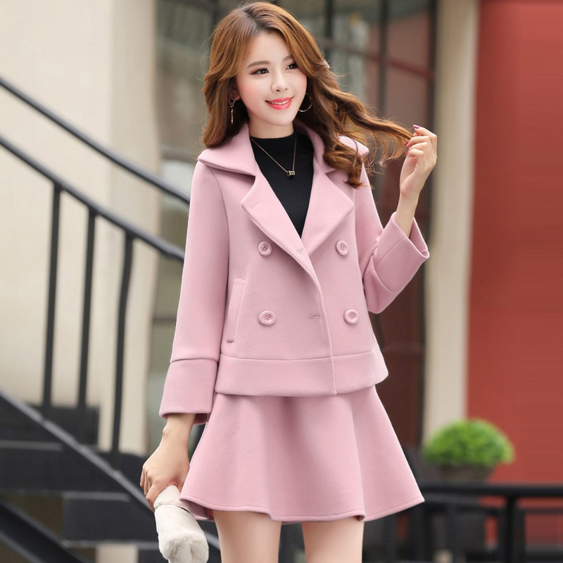 2019 New Autumn Winter Fashion Elegant Wool Blazer Skirt Suit 2 Piece Set Women Double Breasted Jacket A line Skirts Suits