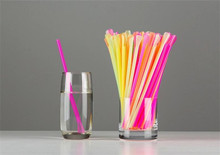 2500 Pieces 6*200mm Plastic Spoon Straw for Shaved Ice Snow Cones Disposable Neon PP Drinking Straws Bar Cafe Party Restaurant