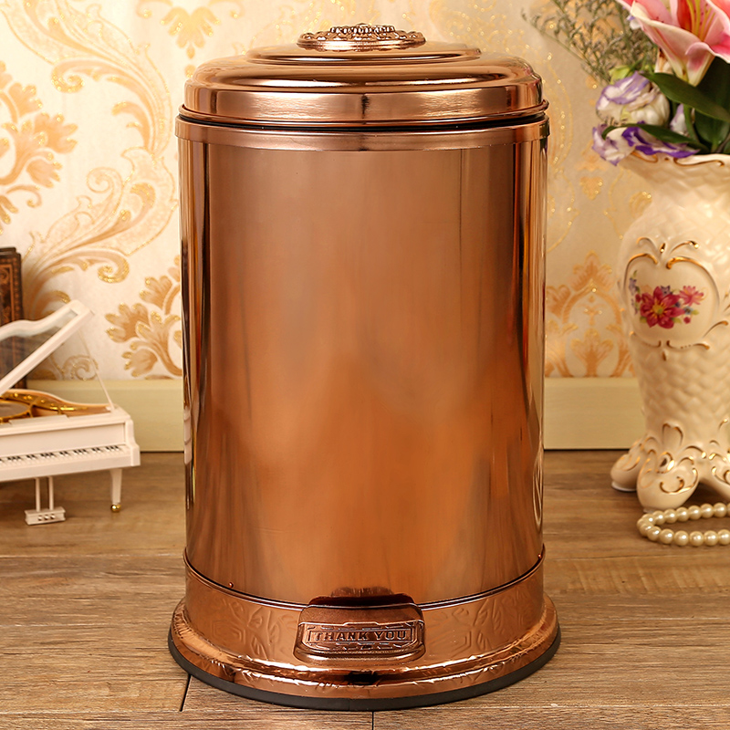 European 10/6 Rose gold color stainless steel metal trash bins garbage cans with foot pedal bin trash for home decoratio LJT003